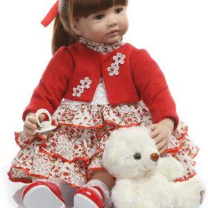 60 CM livliga babydockor, babydockor av silikon som riktiga med fullviktad kropp, handgjorda söta flickadockor med kläder (kofta med klänning)