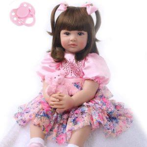 60 cm verklighetstrogna återfödda babydockor, mjuk silikon, riktig realistisk babydocka Flicka Reborn Docka  med fullviktad kropp, handgjord söt babydocka med kläder