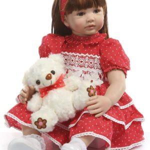 60 CM verklighetstrogna babydockor, silikondockor som riktiga med fullviktad kropp, handgjorda söta flickadockor med kläder- Röd klänning