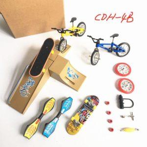 Simulering Skateboard Scen Cykelmodell Leksaker Fingertoppar Leksaksbilar Set Cykelvikbara skotrar Vitality Styrelse Sparkcyklar