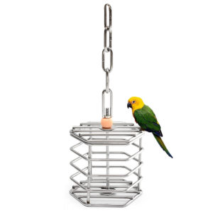 Stainless Steel Pet Bird Parrot Foraging Cage Pigeon Macaw Feeder Hanging Entertainment Toys