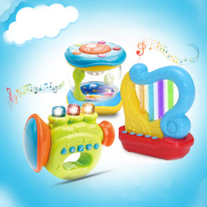 Musical Instruments Horn Harp Drum LED Light Story Telling Percussion Developmental Toy House Play