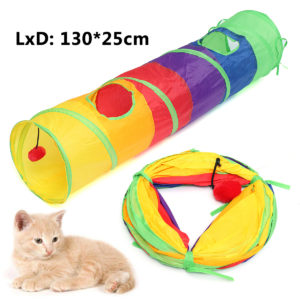 Pet Tunnel Cat Printed Green Crinkly Tunnel Toy With Ball Play Fun Toys