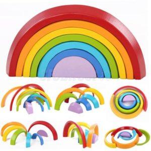 KINGSO Rainbow-leksaker i trä 7st Rainbow Stacker Lärande pedagogiska leksakspussel Färgglada byggstenar för barn