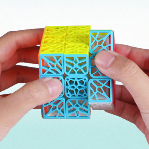 QY DNA Flat Or Concave Third-Order Magic Cube Unique Creative Puzzle Hollow Children's Magic Cube Toys