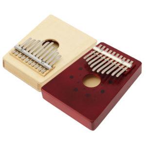 10 ton röd / naturlig färg bärbar trä Kalimba tummen piano finger slagverk