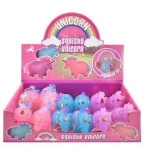 Squishy enhörningsleksak i en färg som ska väljas vid slumpmässigt – perfekt för stress och ångest squishie leksaker – pressa leksaker