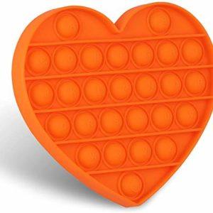 KUNSTIFY Hjärta POP IT fidget leksak antistress leksak för vuxna och barn anti-stress sensorik popit figetttoys enkel dimple fidget leksak set bollfigur squishy Bubble Push pop (orange)