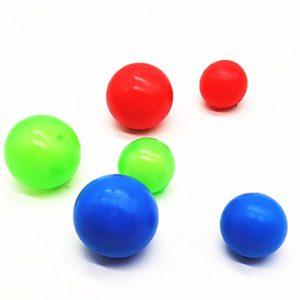 WBTY 4 st klibbiga klotter boll stressleksak, fluorescerande klibbig väggboll klibbig målboll dekomprimering leksak barn gåva dekomprimering barnleksak