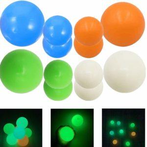 TENQUAN 12 st stressavlastningsbollar, klisterbollar i tak (fluorescens – 8 st diameter 4,5 cm/1,8 tum lägg till 4 st 6,5 cm/2,6 tum diameter)