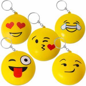 TE-Trend Squeeze Emoji nyckelring barn gräddfärgad barnens födelsedag Squishy boll smiley hänge 70 mm gul