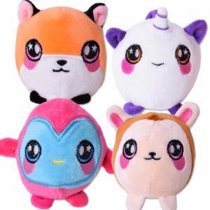 TE-Trend 4 stycken cool plysch Squishys klämma boll mjuk leksak set leksak vuxna barn anti-stress 8 cm motiv flera färger