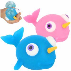 COM-FOUR® 2x Antistressfigur - Squeeze Toy Narwhal - Pressboll för barn och vuxna [urval varierar] (02 stycken - narval)