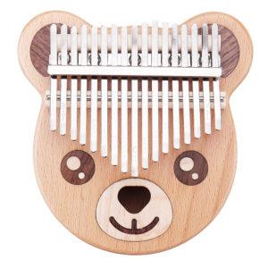 Byla Bear Shape 17 Keys Wood Kalimbas Mahogany Thumb Piano Finger Percussion
