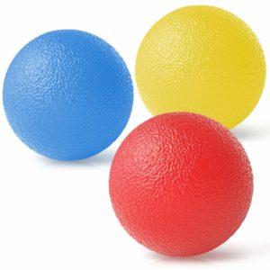 Peradix Stresskula för vuxna och barn, handgrepp styrka tränare, handledsrehab-terapi handgrepp utrustning boll squishy - set med 3 fingerresistens träning
