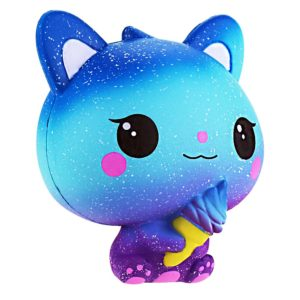 Squishie färgglad katt glass galax söta barnleksaker långsamt stigande antistress squishy Galaxy Cat Ice Cream Slow Rising Kawaii Soft (10 x 8 x 11 cm)