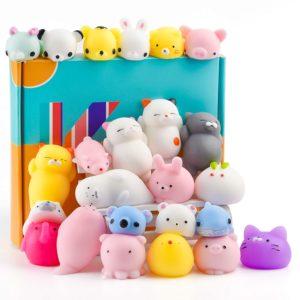 KUUQA 25 st squishy leksaker Kawaii squishies djur panda katt söt mini mjuk pressa stressavlastare bollar leksaker födelsedagsfest gåvor gåvor gåvor gåvor för barn vuxna
