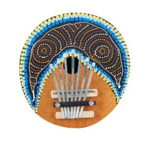 7 tangenter fingerpiano justerbart målat kokosnötskal Kalimba tummen piano