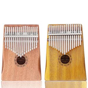GUISTAR 17 Keys Mahogany Acacia Wood Kalimbas Thumb Finger Piano with Bag Set
