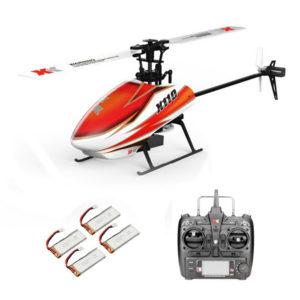 XK K110 2.4G 6CH 3D Flybarless RC Helikopter RTF Kompatibel Med FU-TABA S-FHSS Med 4PCS 3.7V 450MAH Lipo Batteri