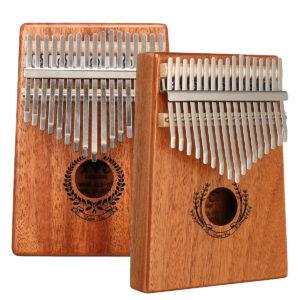 17 Keys Kalimba Mahogany Thumb Finger Piano with Turning Stick/Finger Sleeve/Sound Sticker/Posts/Cloth/Bag