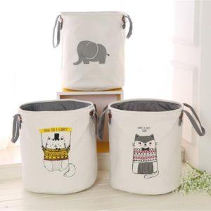 Pattern Laundry Hamper Cotton Rope Woven Handbag Canvas Laundry Basket Storage Bag Baby Toys Bin